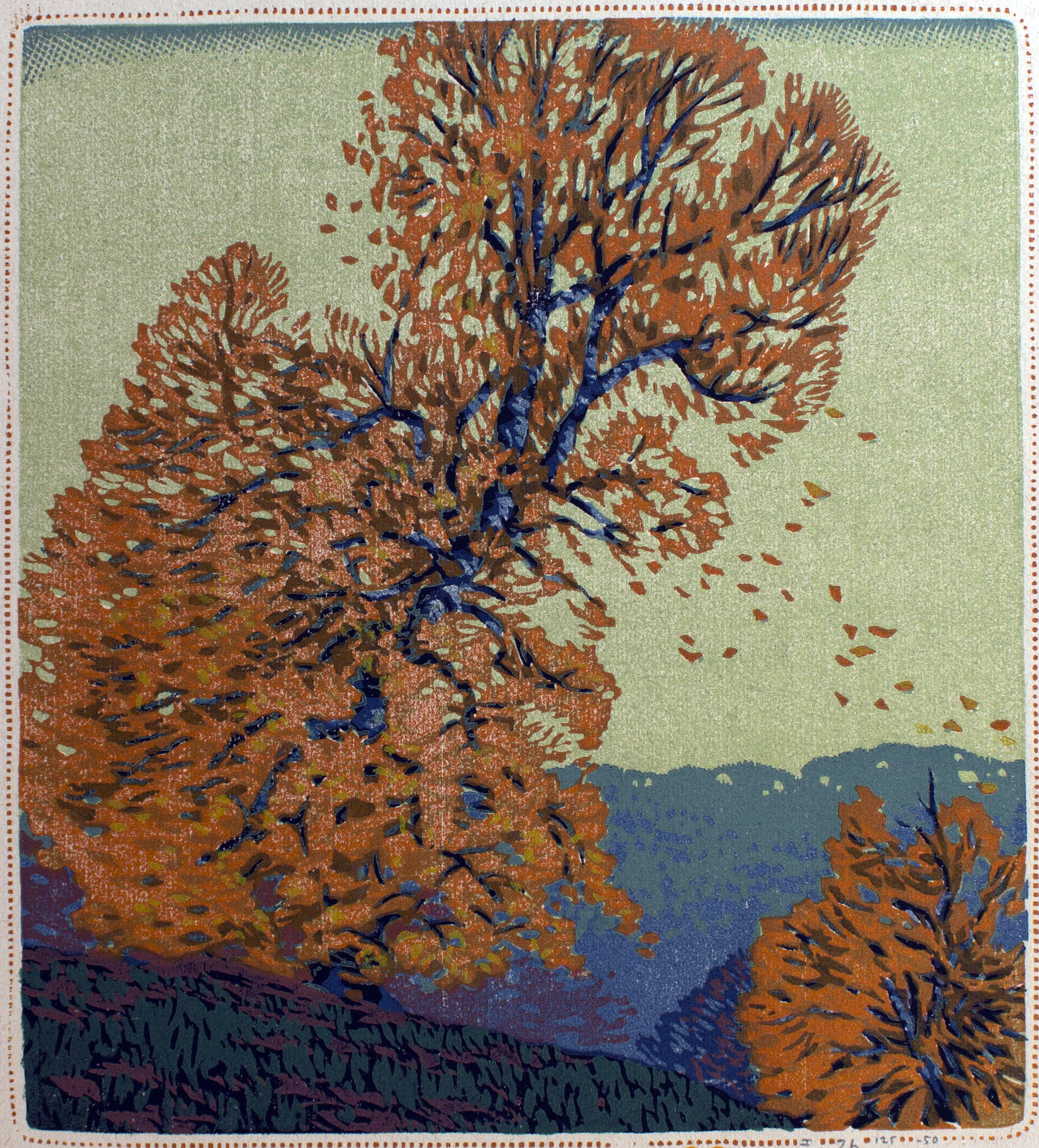 """Falling Leaves"" by Gustave Baumann"