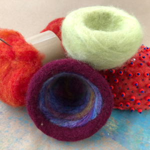 Needle-felted Wool Bowls