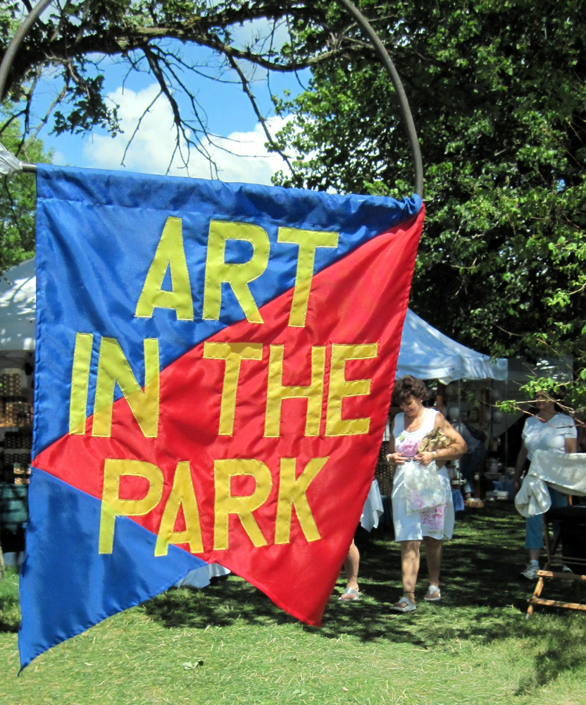 Art in the Park Red-Blue Flag