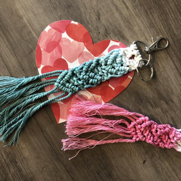 Dip Dyed Macrame Heart Key Fob