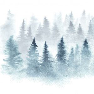 Watercolor Winter Trees